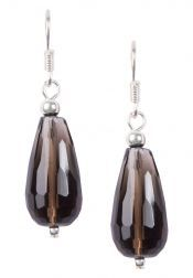 Tucked In  Tucked In Crystal Teardrop Sterling Silver Earrings Brown