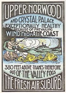 Upper Norwood and Crystal Palace Victorian Railway Poster A3 Reprint