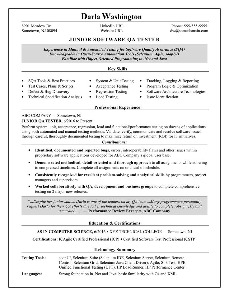 Experienced QA software tester resume sample Resume