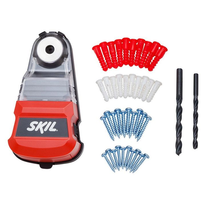SKIL SDC01 Cordless Dust Collector with 42-Piece Wall Anchor Kit. Vacuum Mount-does not cause damage and has a secure hold. Internal brushes that clean the drill bit and contain dust while drilling. A clear view cover that allows the user to see when the container is full for emptying. Cordless power that runs on two AA batteries for convenience. A 42 piece wall anchor kit that includes two drill bits, 20 drywall anchors and 20 screws.