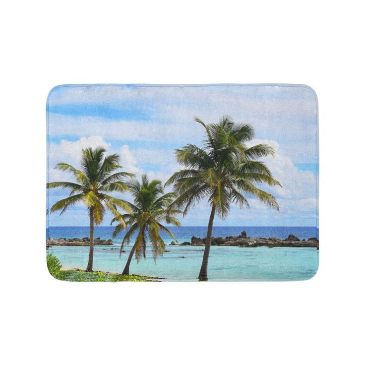 Beach tropical vibes for your bathroom settings, our chic and stylish bath mat addition features a ...