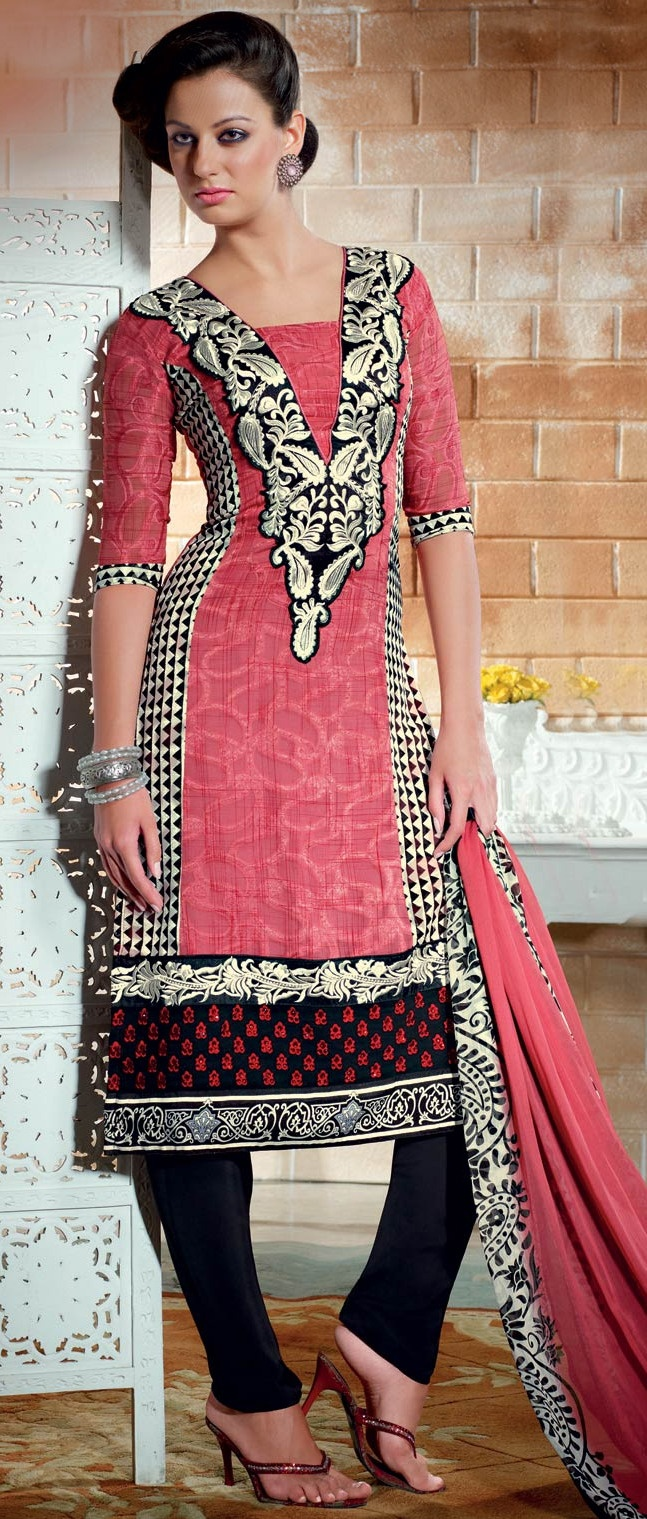 Peach and #Black Faux #Georgette jacquard #Churidar Kameez @ $52.22