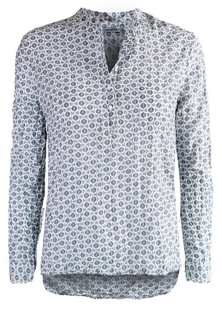 Copenhagen Luxe Skjorte print 7323Printet Silk Shirt P78 navy – Acorns