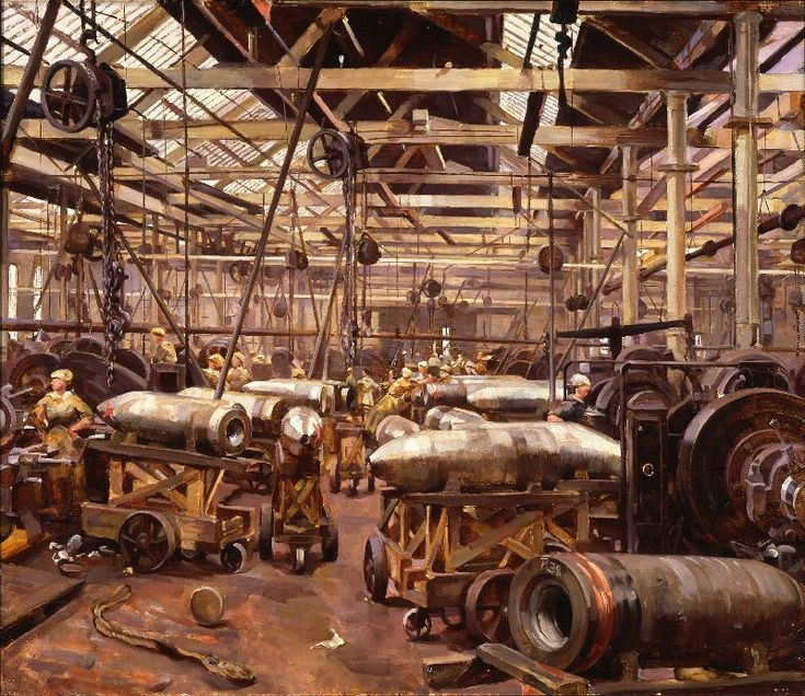Shop for Machining 15-inch Shells: Singer Manufacturing Company, Clydebank, Glasgow, 1918. by Anna Airy. The painting shows the Singer Factory, which switched from making sewing machines to producing armaments. Here women can be seen working in the factory.