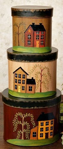 New Primitive Country Saltbox House Willow Tree Storage Nesting Stacking Boxes #Country