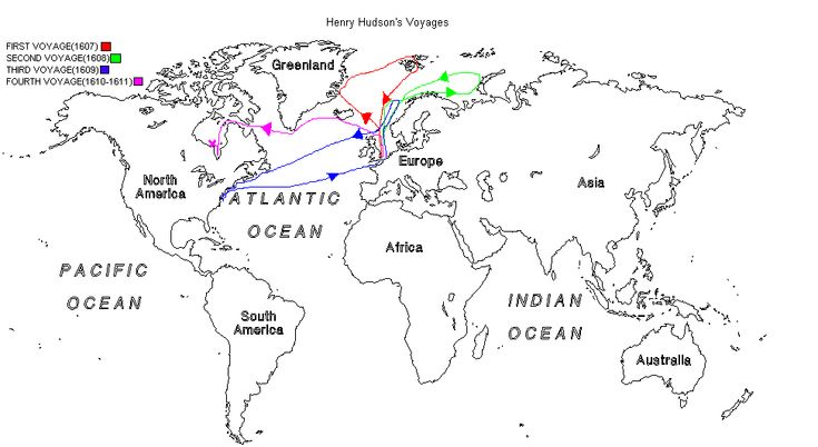 a map depicting the routes of the voyages henry took history