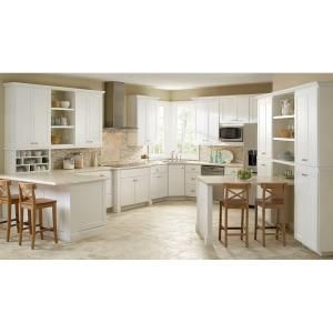 Great Hampton Bay Shaker Assembled x x in Base Kitchen Cabinet with Ball Bearing Drawer Glides in Satin White