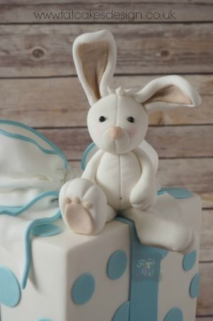 rabbit christening cake topper More