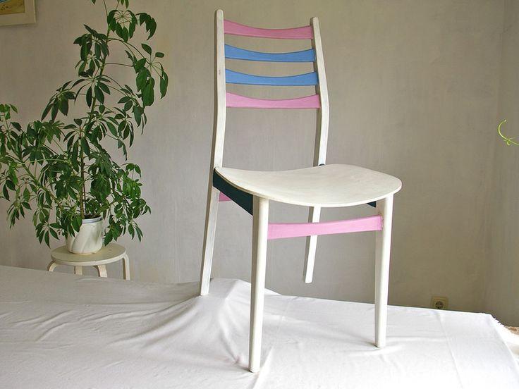 Stuhl+Holzstuhl+mit+bunten+Sprossen+Lehne++von+Schlüter+Home+Design+-+Stühle,+Kommoden,+Regale,+Modeschmuck+auf+DaWanda.com