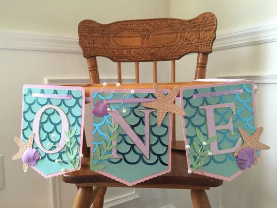 Mermaid highchair banner first birthday by PoppiesandPaperShop