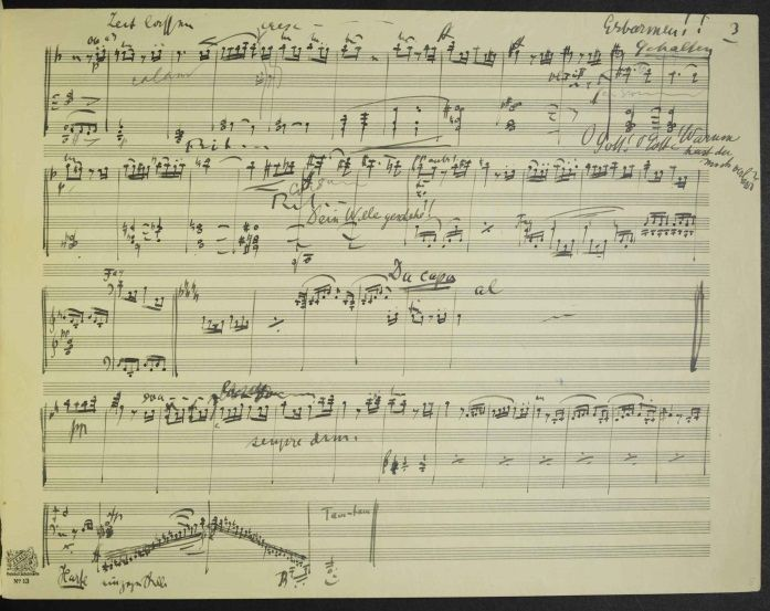 Mahler, Gustav (1860-1911): Symphony No. 10 in F Sharp Major (particell). Last page of the 3rd movement.