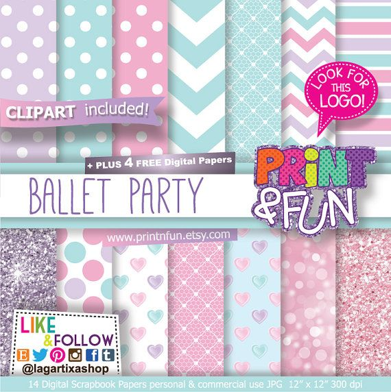 Ballerina Ballet Digital Paper, clip art, Patterns, pale turquoise, pale pink, pale purple, Glitter papers, Party Printables, bottle labels