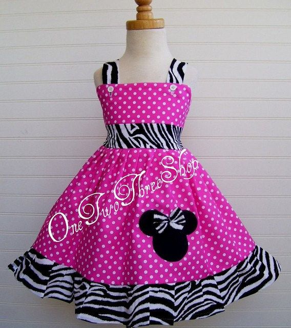 Minnie Mouse Dress Custom Boutique Clothing Small dot Zebra Sassy Girl Dress
