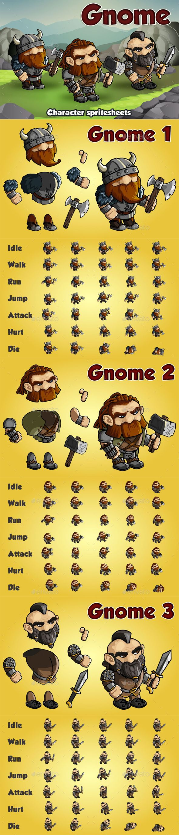 Gnome 2D Game Character Sprite Sheet - Sprites Game Assets