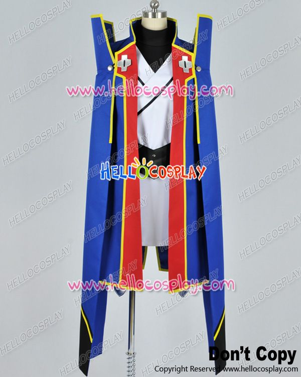 Japanese Anime Outfit BlazBlue Cosplay Jin Kisaragi Blue Uniform Costume  H008