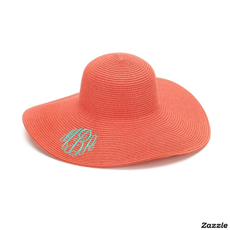 Coral Floppy Beach Hat w/Aqua Blue Monogram