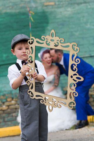 wedding carnival bride groom alternative punk cool funky retro 50's amusement park hipster trendy fair blue suit dress circus vintage