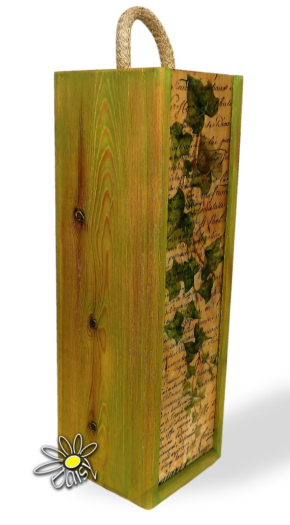 Wooden wine box decorated using decoupage by DaisyDecoupage, £35.00