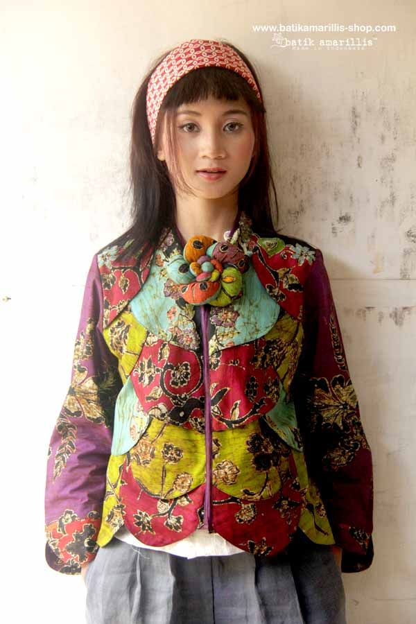 Batik Amarillis's Les Belles Plumes ... ♥ Batik Amarillis's petit Plume  Jacket in hand drawn batik wonogiren of Indonesia  ♥ ..this super unique collection is uniquely & meticulously hand crafted individually ,features over lapping patchwork that looks like multi color Feather.