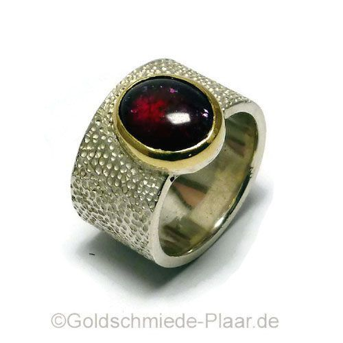 Breiter Silber-Ring mit Rubellit