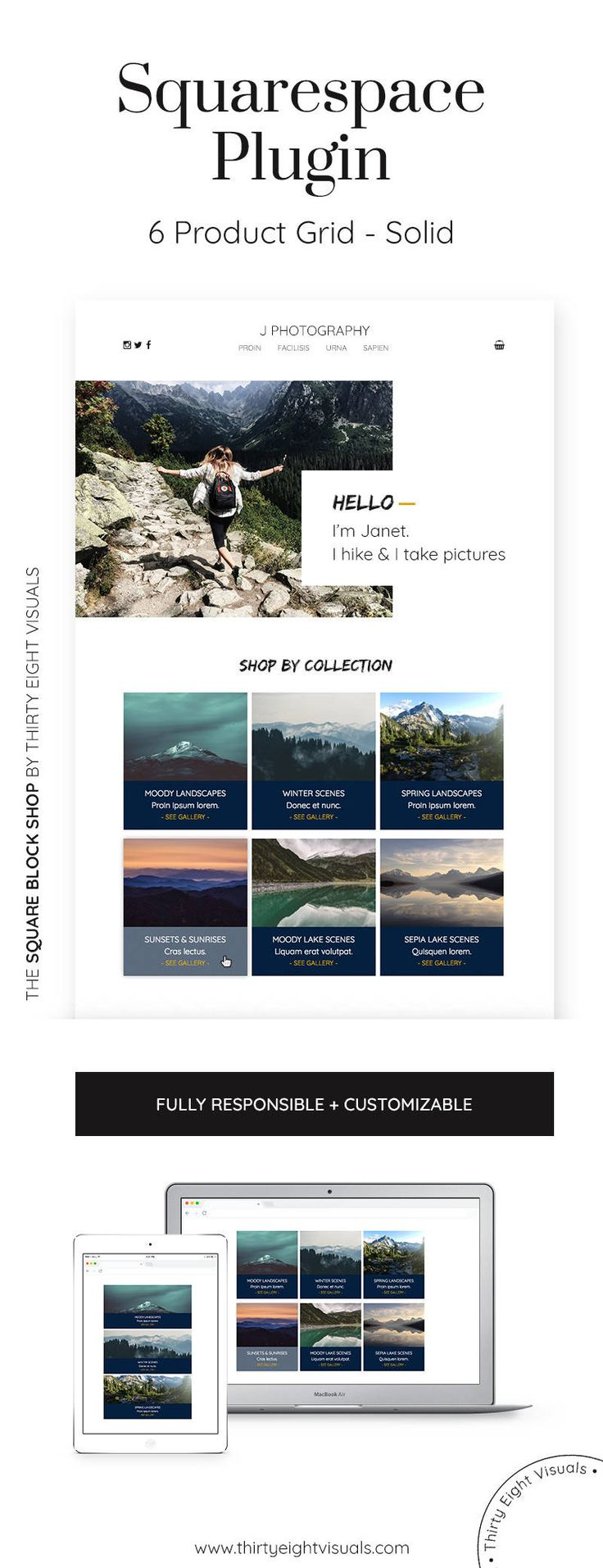 Squarespace plugin - Display 6 products or services on your Squarespace site in this responsive block grid that supports imagery, a brief text and a call to action! Click to see it!