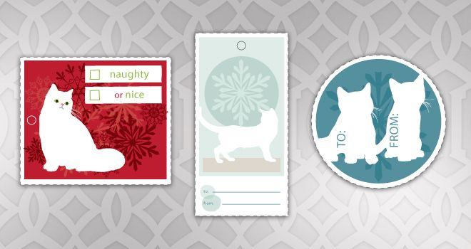 Free Printable Cat Christmas Gift Tags Wrapping