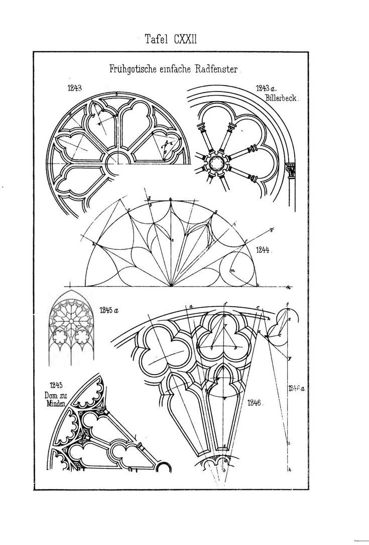 Gothic window details - From a German book on Gothic pattern construction.
