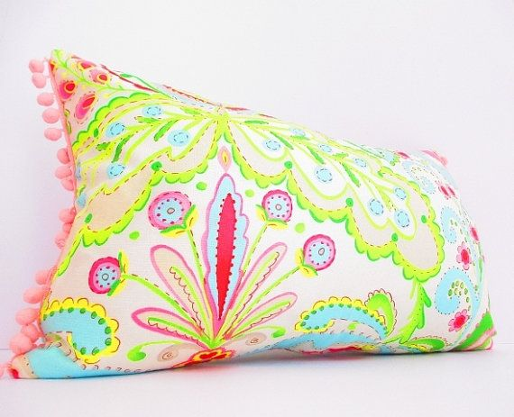 Tropical Throw Pillow Covers : Bright, Tropical Decorative Pillow Cover, Lumbar Pillow, Hot Pink, Le?