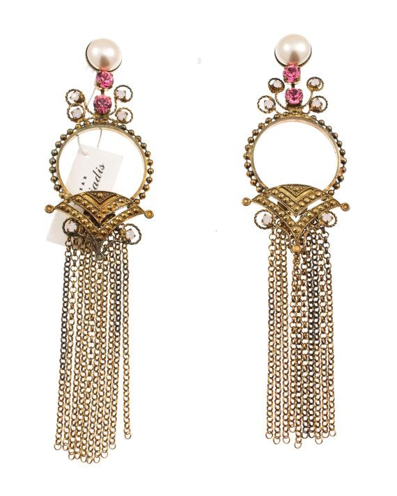 Chandelier earrings with Swarovski strasses and pearls, by Art Wear Dimitriadis