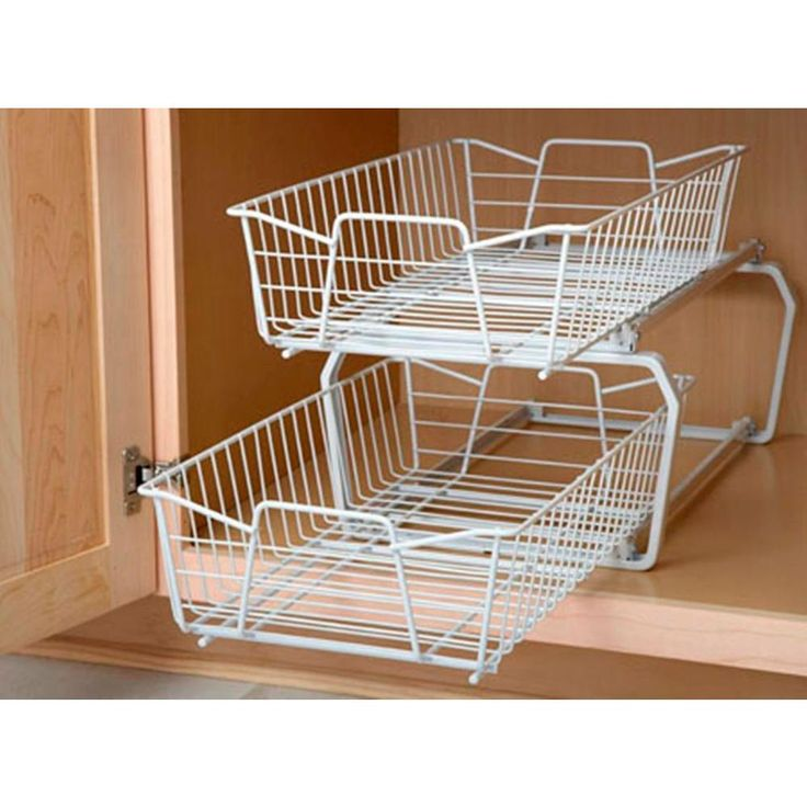 W 2 Tier Ventilated Wire Sliding Cabinet Organizer In White   Cabinet  Organizers, Organizing And Organizations