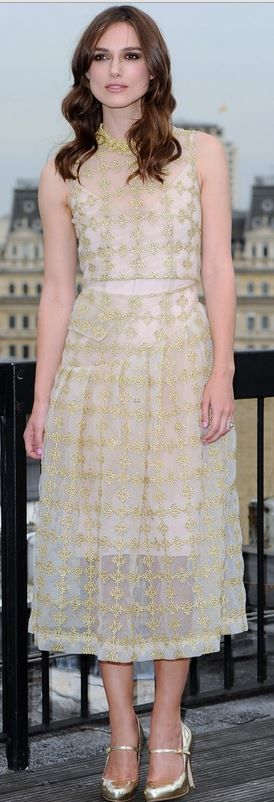 Who made Keira Knightley's gold dress that she wore in London?