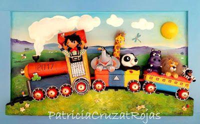 Patricia Cruzat Artesania y Color: Tren con Animales en un cuadro, para decorar habitación de un niño