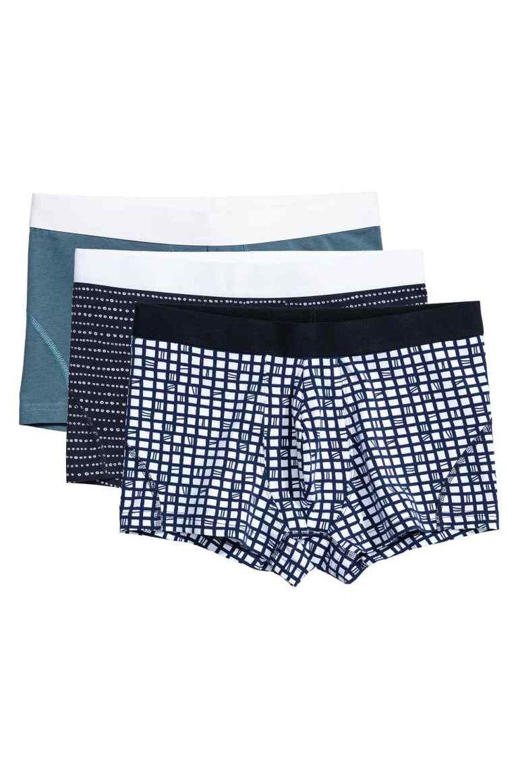 3-pack boxer shorts - Dark blue/Patterned - Men | H&M GB