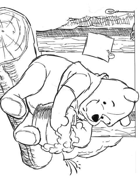 kleurplaat Winnie de Pooh - Honing eten