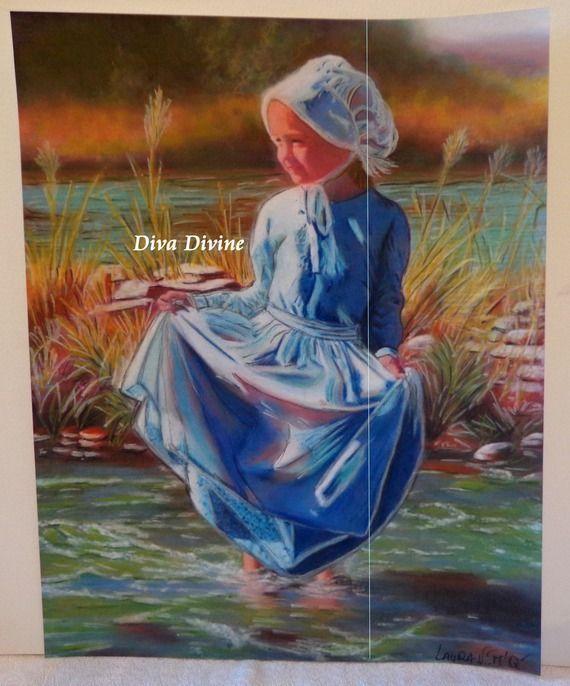 Peinture Pastel Sec Romantique * LAURA * - Création originale - Pièce unique via Diva Divine Déco. Click on the image to see more!