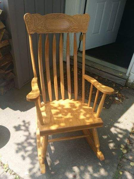 Solid oak mennonite rocking chair