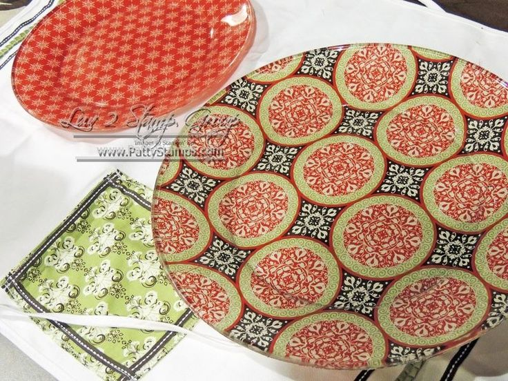 podoge ideas | Mod podge stampin up fabric plates | Great ideas
