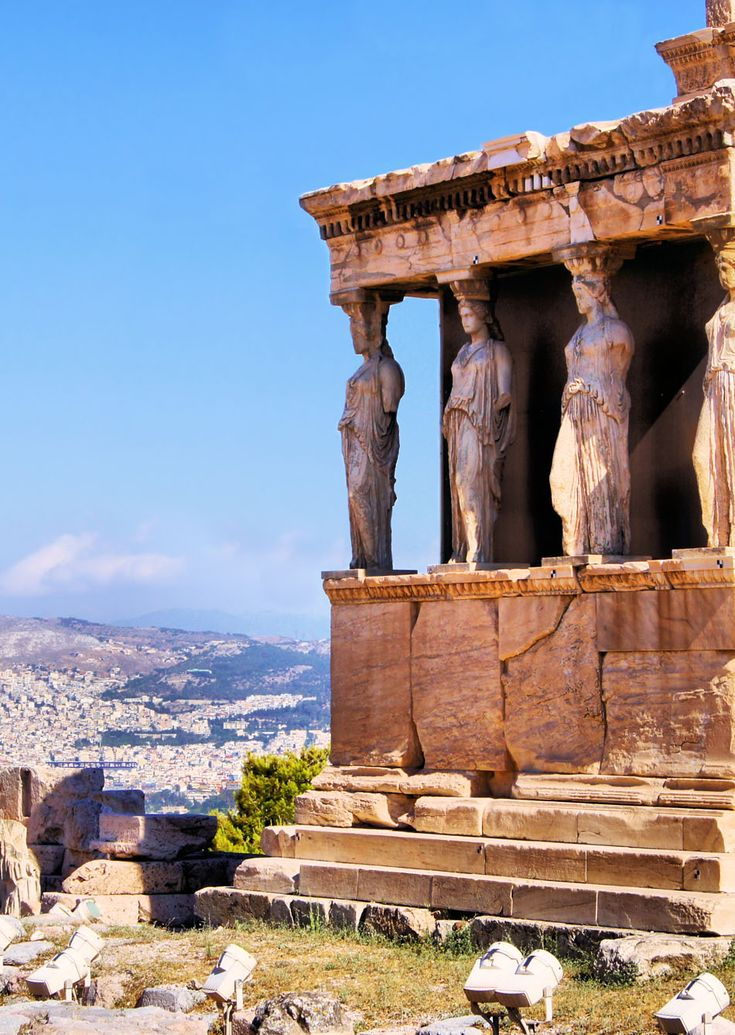 Famous ancient Porch of the Caryatids overlooking Athens, Greece | Amazing Photography Of Cities and Famous Landmarks From Around The World