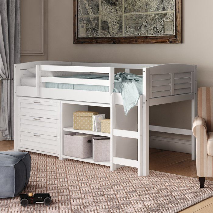 Evan Twin Low Loft Bed With Drawers Low Loft Beds Twin Loft Bed