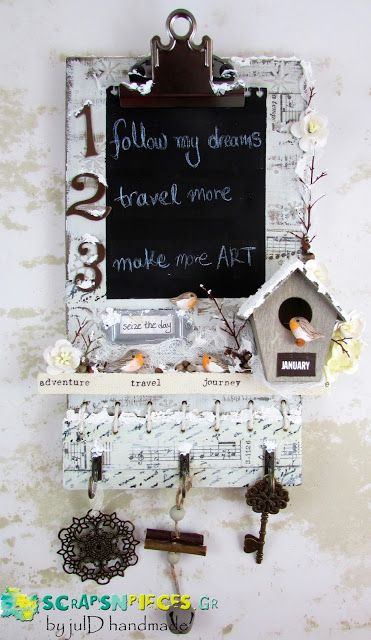 Scraps N Pieces - the Blog: Mixed Media Clipboard από την Ιουλία Δεληγιαννίδου