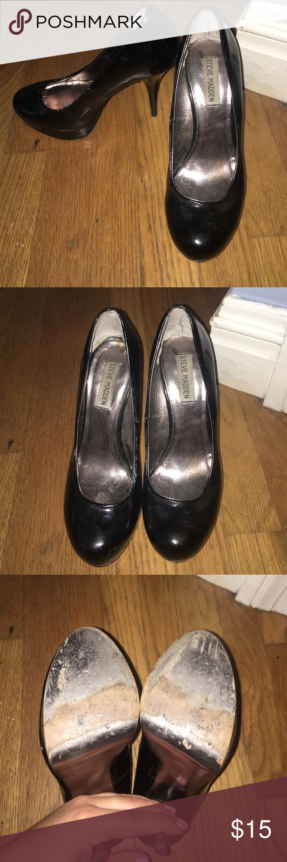 Steve Madden Black Patent Leather Pumps Steve Madden Black Leather Pumps! Have some imperfections, got a lot of great wear out of these. Very comfortable for long wears at work or going out on a Friday night. Bought these at Nordstrom Rack for $80! Steve Madden Shoes Heels