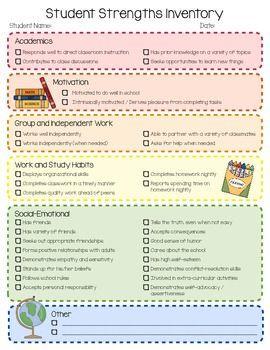 Student strengths inventory checklist - TPT
