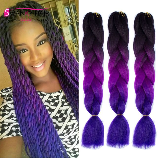 10 best synthetic ombre box hair braids images on pinterest 24 100g crochet braids hair ombre kanekalon braiding hair for box braid extension gray synthetic pmusecretfo Images