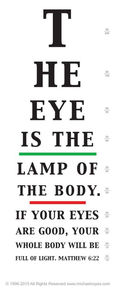 snellen  | Eye Chart, Matthew 6:22, Calligraphy Art Plaques, Inspirational Gifts