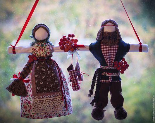 """Народные куклы ручной работы. Ярмарка Мастеров - ручная работа. Купить Кукла-оберег """"Неразлучники"""". Handmade. Тёмно-зелёный"""