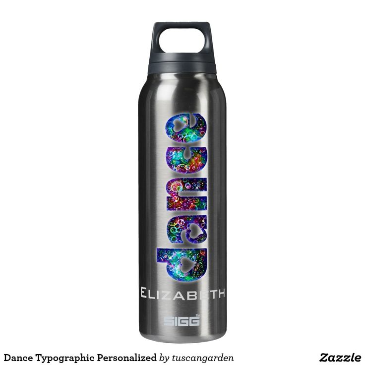 Dance Typographic Personalized Thermos Water Bottle Stay hydrated and keep your drink cold or warm during dance class with this thermos dance themed bottle. The word Dance is written in colorful typographic letters with a heart design. The dancer or ballerina's name or your dance studio or text can be added in the template area provided. You can delete it if you prefer.