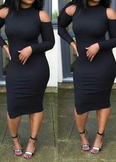 Black shoulder cut out bodycon dress | Women clothing sexy trendy urban stylish going out