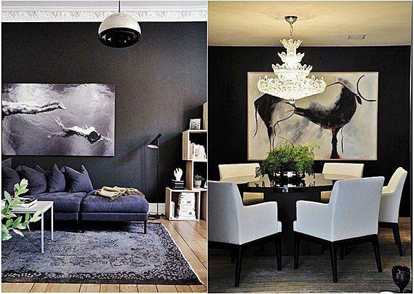 sala estar e sala jantar em preto e branco