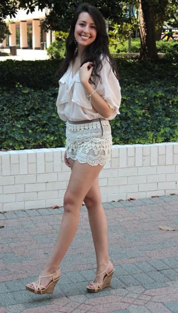 Stalk My Style: Lace Tiered Shorts & Wedges   Fashion HotBox