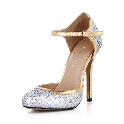 Women's Leatherette Sparkling Glitter Stiletto Heel Closed Toe Pumps With Buckle (047042633)